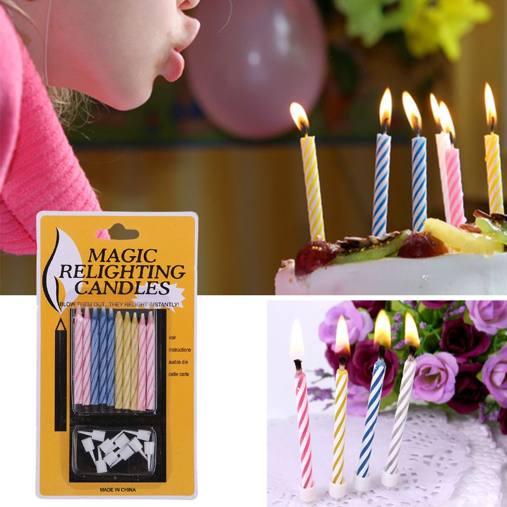 Details About 10 Pcs Prank Candle Magic Trick Relighting Candles Birthday Cake Party Gag Joke