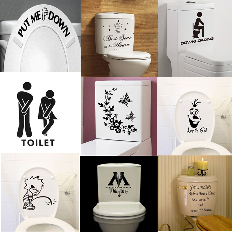 Funny diy toilet seat wall stickers art removable bathroom for Funny bathroom decor