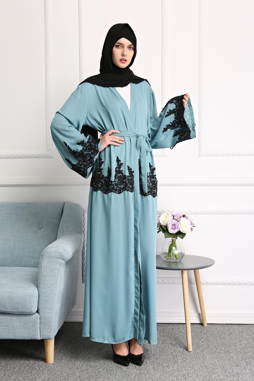 Muslim Lace Open Front Kaftan Abaya Islamic Cardigan Dubai Long Maxi ...