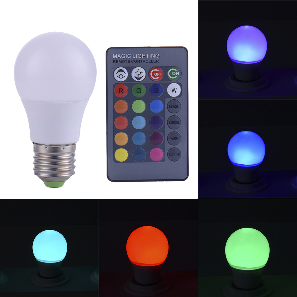 3w E27 Dimmable Rgb Led Light Color Changing Bulb With Remote Non Lighting Controller Control Lamp