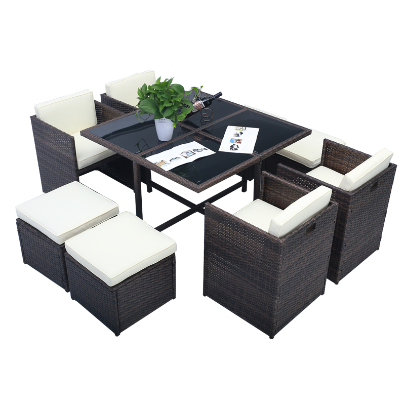poly rattan gartenm bel garten sitzgruppe essgruppe set lounge tisch 8 st hle. Black Bedroom Furniture Sets. Home Design Ideas