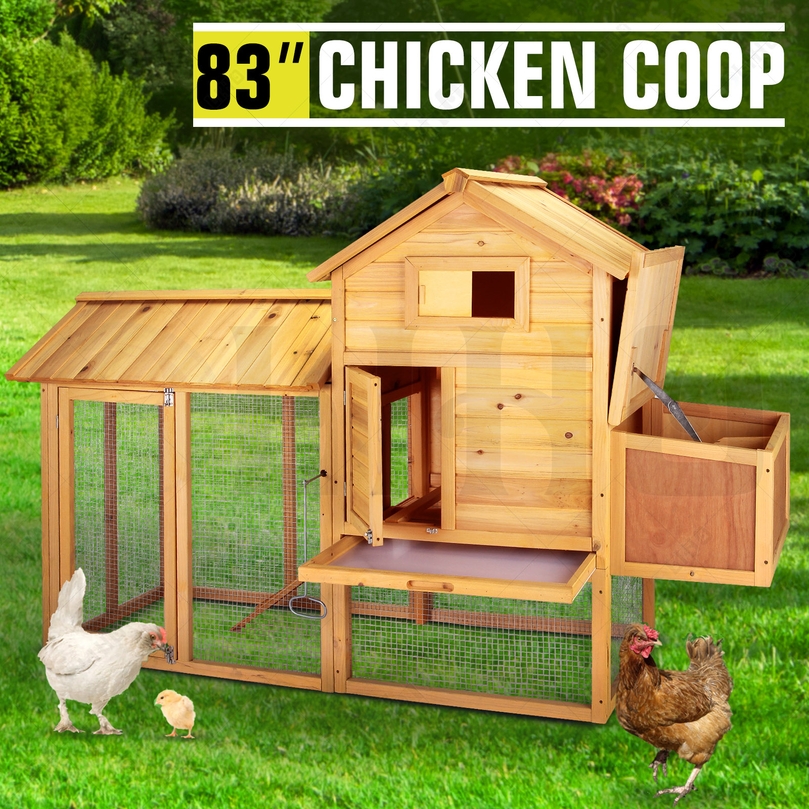 """83""""Wooden Chicken Coop Poultry Cage Hen Duck House Pet"""