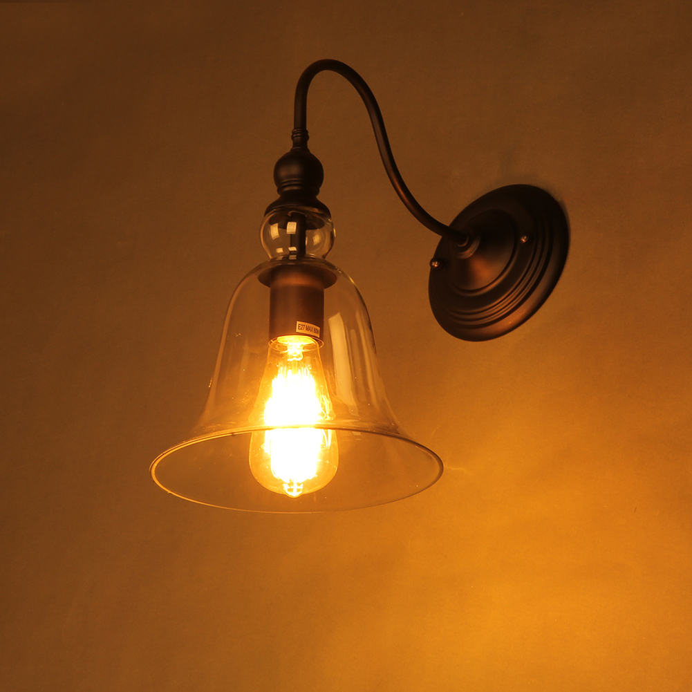 Industrial Style Glass Wall Lights : Edison Vintage Style Antique Glass Industrial Retro Light Wall Lamp Wall Sconce eBay