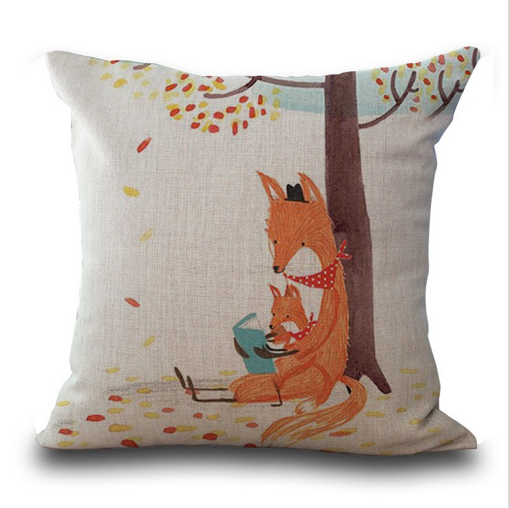 Hand painted children 39 s cartoon foxes sofa home decor for Hand painted pillows