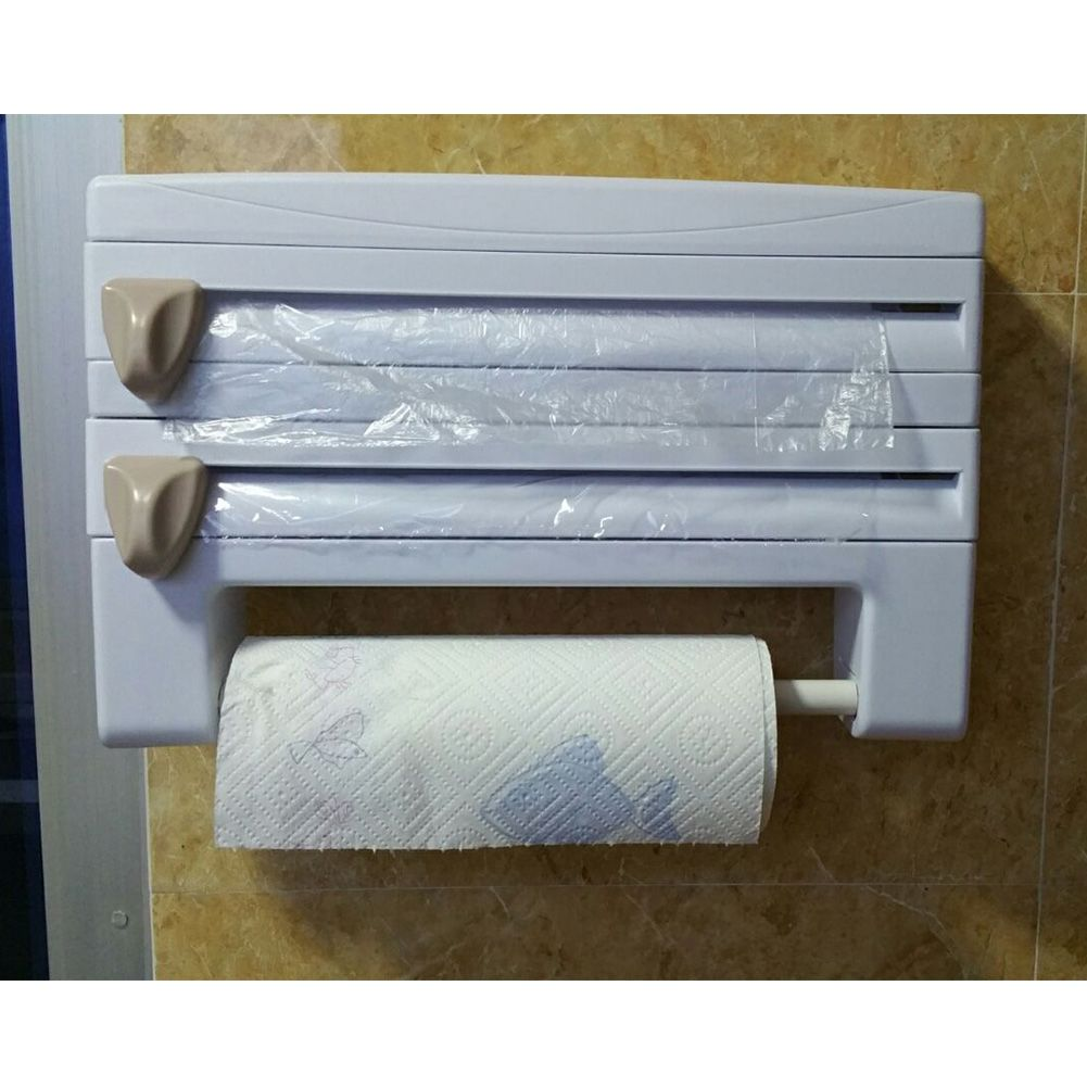Kitchen Roll Holder Tin Foil Cling Film Paper Towel Wrap Dispenser Store  Cutter