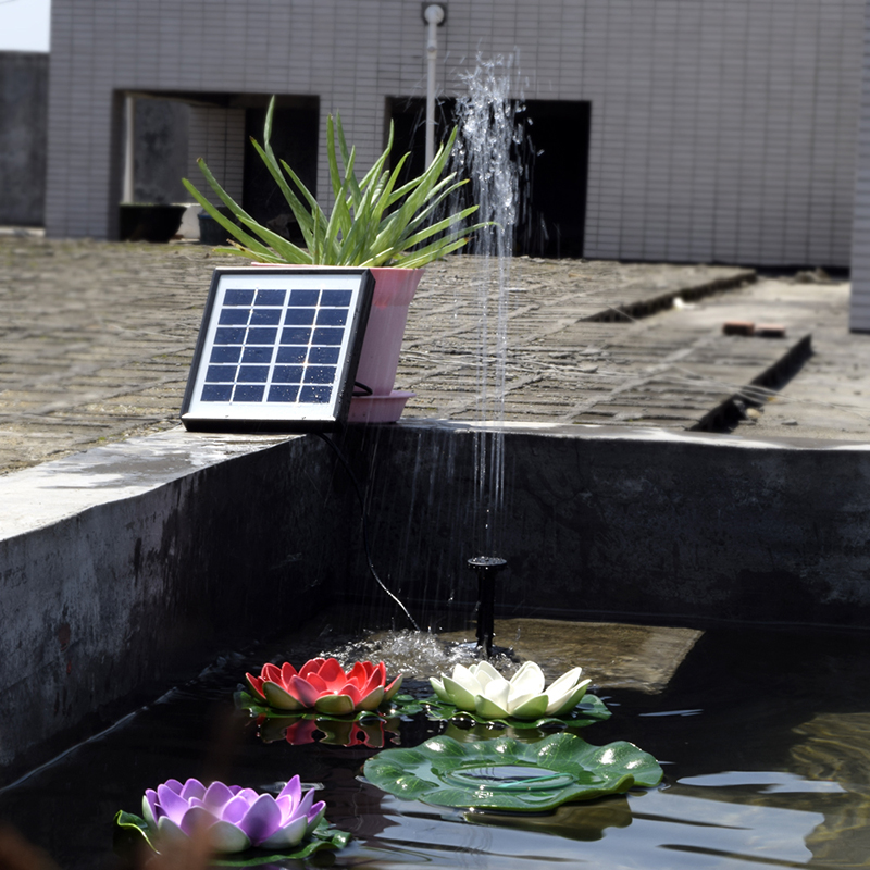 Solar power water pump panel fountain suit pool garden for Small outdoor fish tank