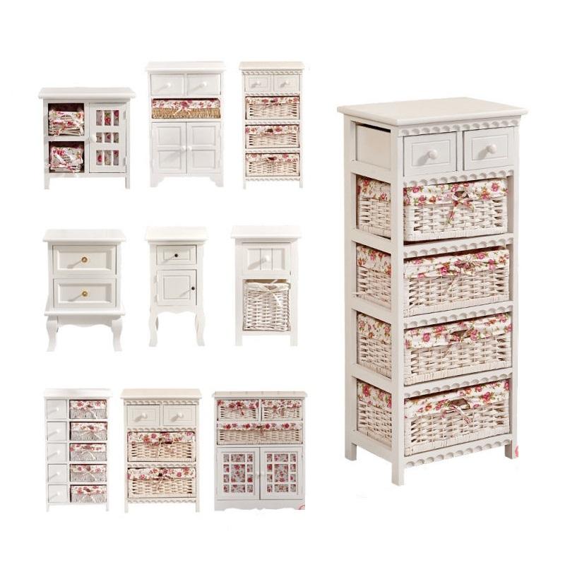 5 Drawer 5 Wicker Basket Cabinet White Wood Storage Unit