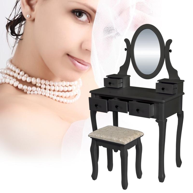 Mobile tavolo trucco toeletta tabella sgabello consolle con specchio 5 cassetti ebay - Mobile per trucco ...