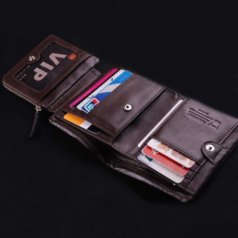 b932266636a40 Details about US Stock Men s Trifold Wallet Leather Business ID Credit Card  Holder Coin Purse