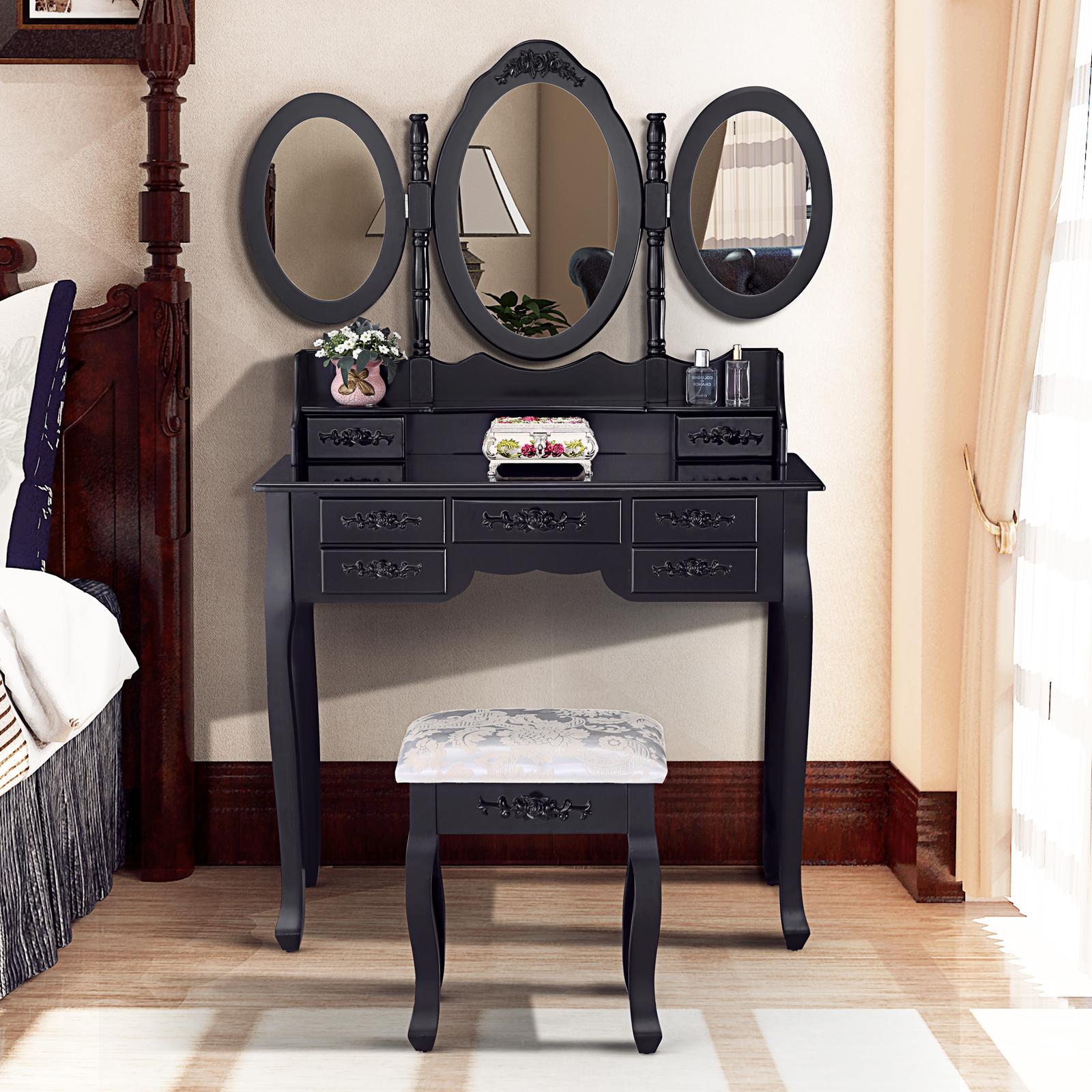 Black Dressing Table Vanity Makeup Desk W 7 Drawers 3 Mirrors Stool EBay