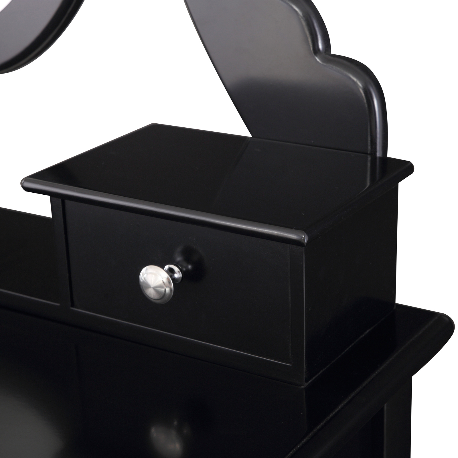 Black dressing table with stool oval mirror 5 drawers for Black makeup table with mirror