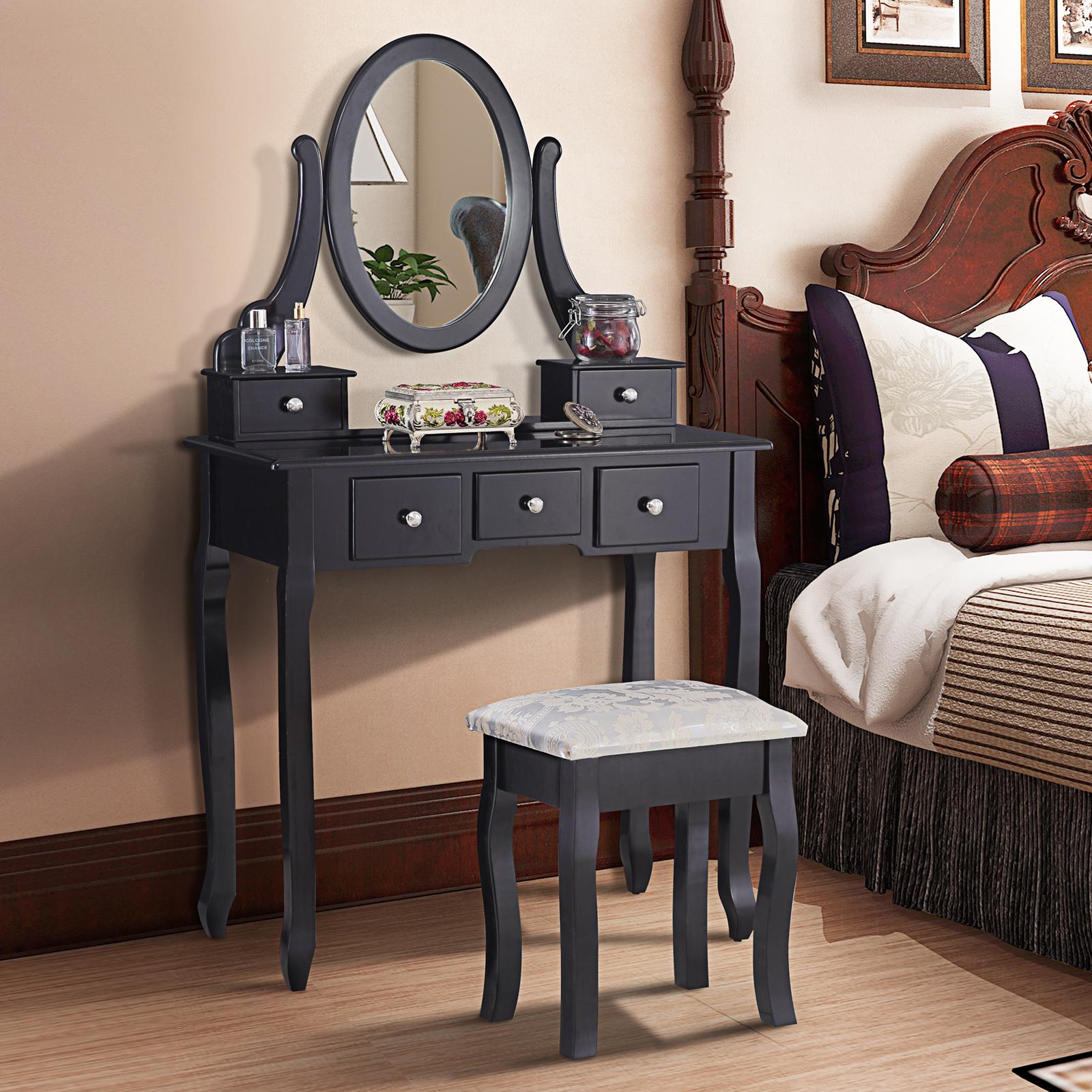 uenjoy schwarz schminktisch luxuri s kosmetiktisch hocker spiegel 5 schublade ebay. Black Bedroom Furniture Sets. Home Design Ideas