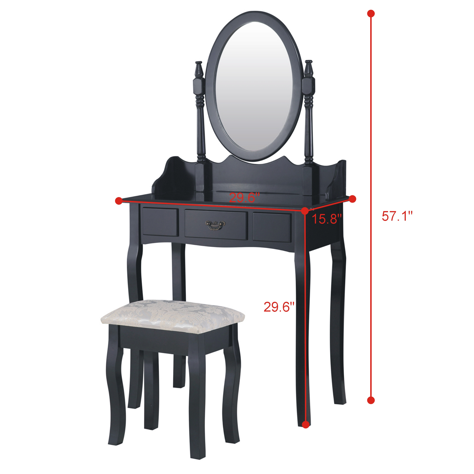 Black Dressing Table Makeup Desk With Stool And Oval
