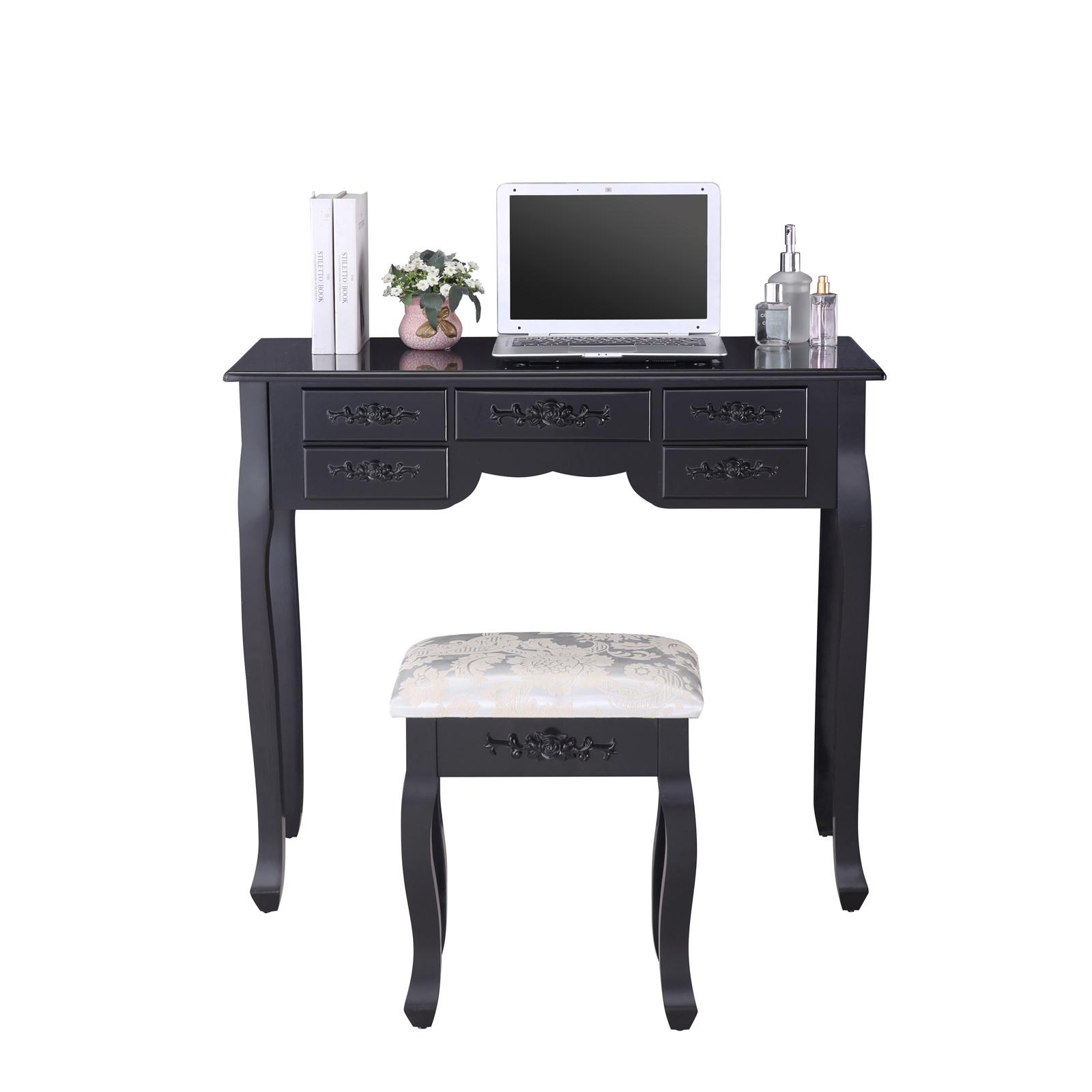 Black dressing table vanity makeup desk w 7 drawers 3 for Black vanity desk with mirror