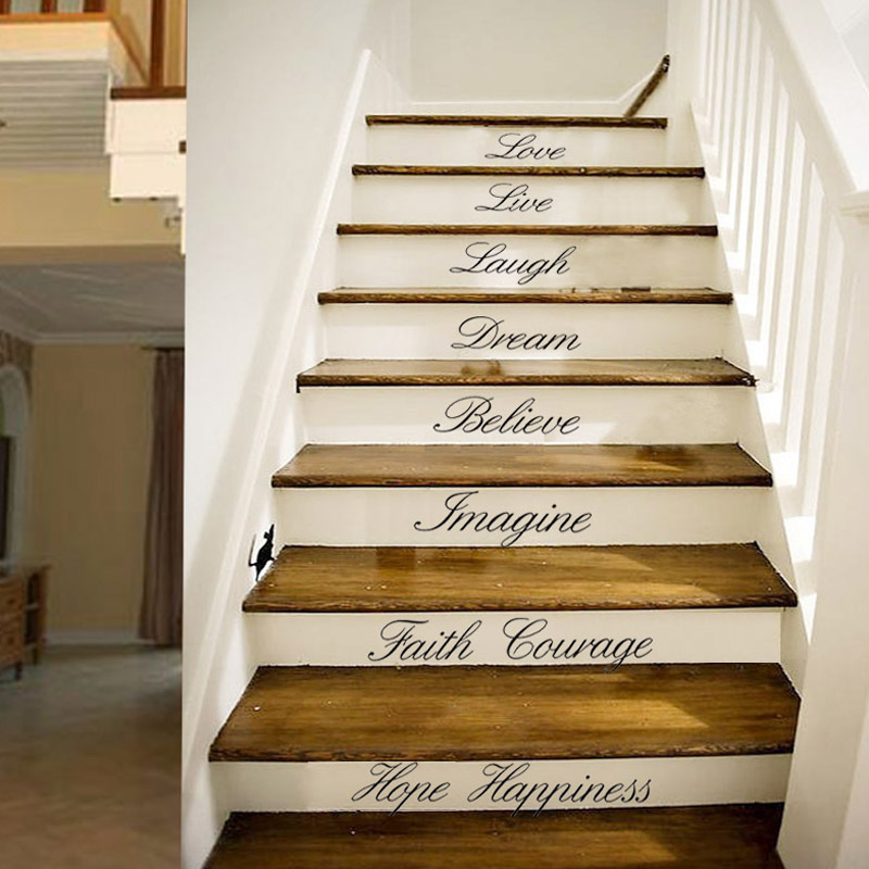 home stairs wall art diy quote removable stickers vinyl decals decor us stock ebay. Black Bedroom Furniture Sets. Home Design Ideas