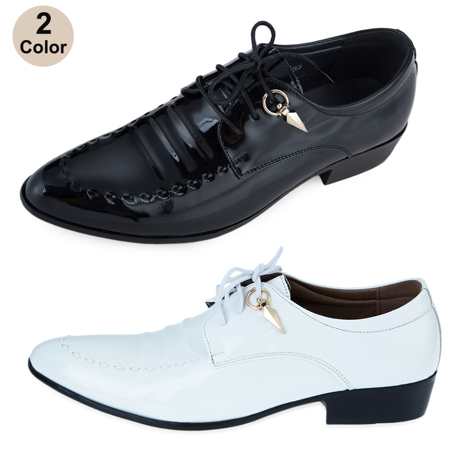 mens patent leather lace up pointed toe wedding dress