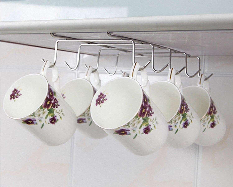 Under Cabinet Shelf Mug Cups Storage Rack Metal Holder ...