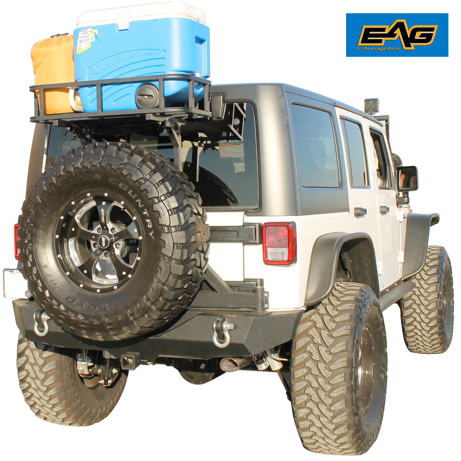 Steel Rear Cargo Basket With Mounting Plate For 87-17 Jeep