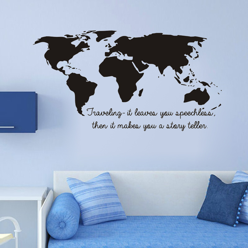 World map decals art vinyl mural quote wall stickers removable home world map decals art vinyl mural quote wall stickers removable home decor mural gumiabroncs Gallery