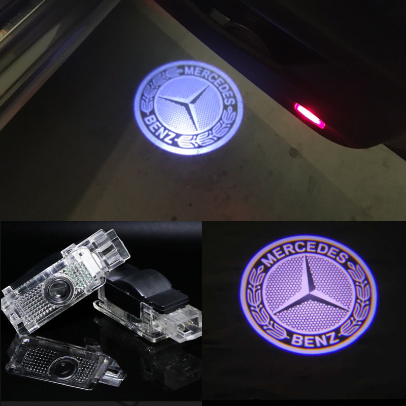 2x led benz logo door projector light for mercedes benz for Mercedes benz light up emblem