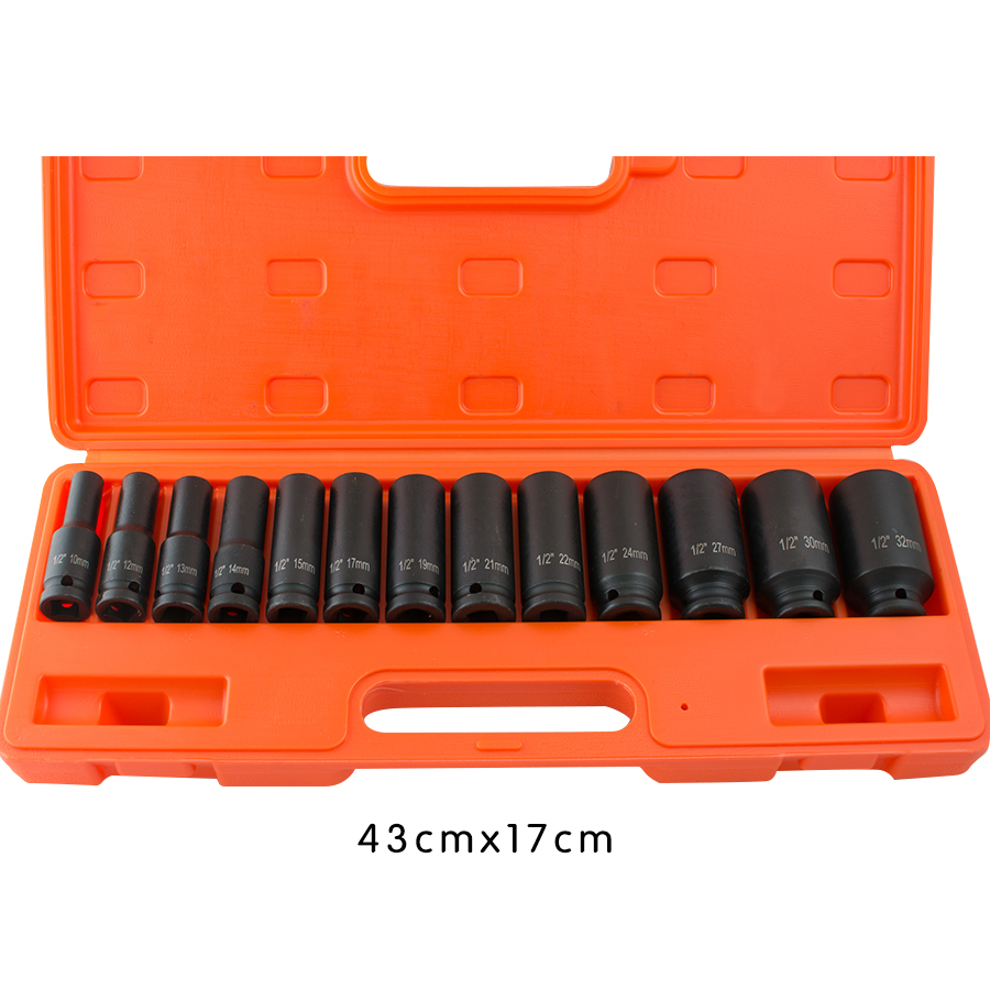 Us 13pcs 1 2 Quot In Drive Deep Impact Socket Tool Set 10