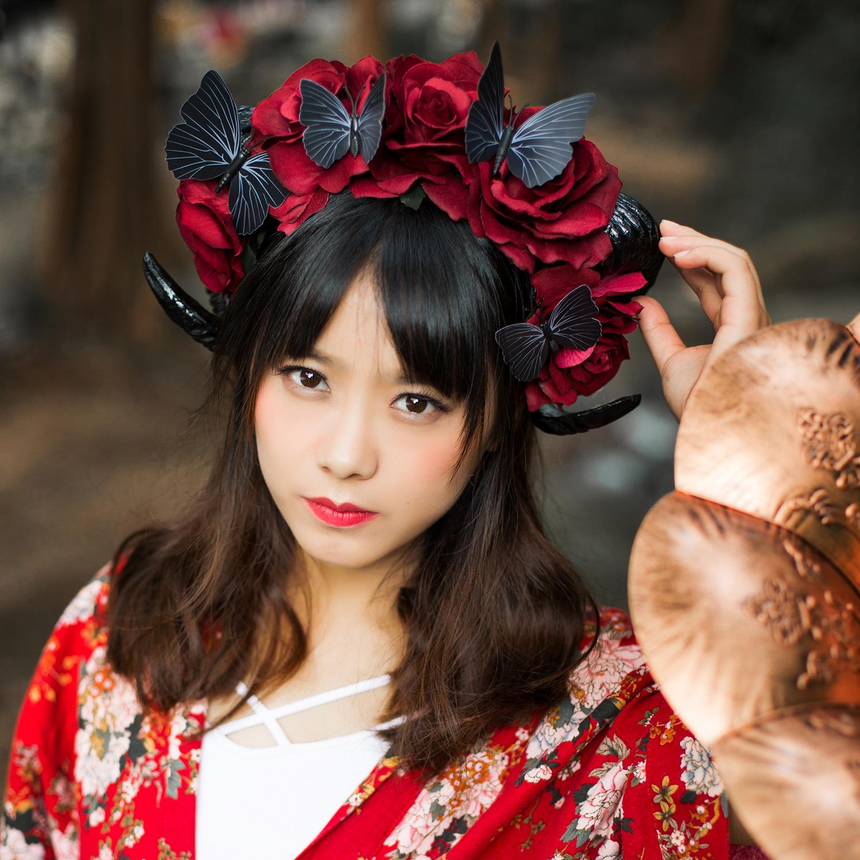 Lolita Black Ram Horn Goat Cosplay Headband Veil Costume Party Goth