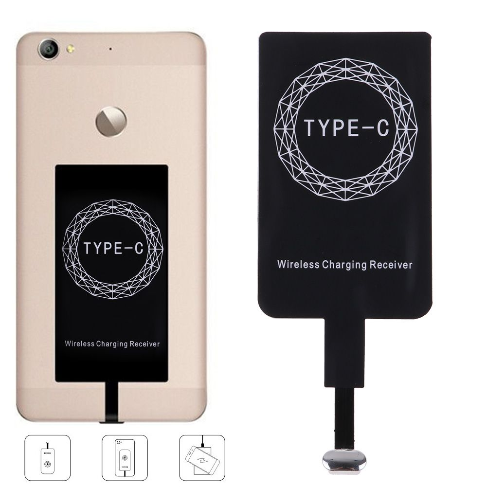 universal qi standard wireless charging dock charger receiver for type c phones ebay. Black Bedroom Furniture Sets. Home Design Ideas