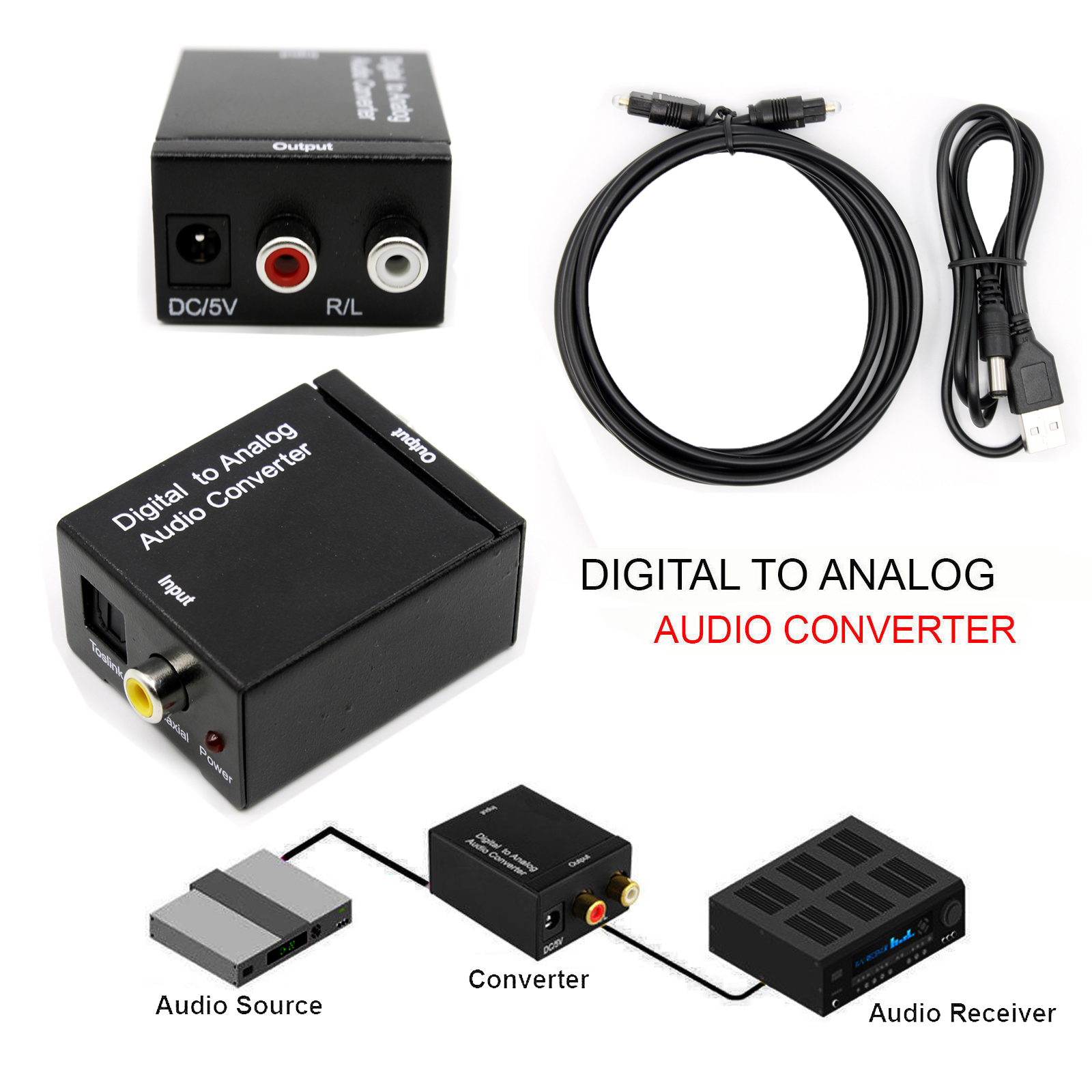 how to connect digital to analog audio converter