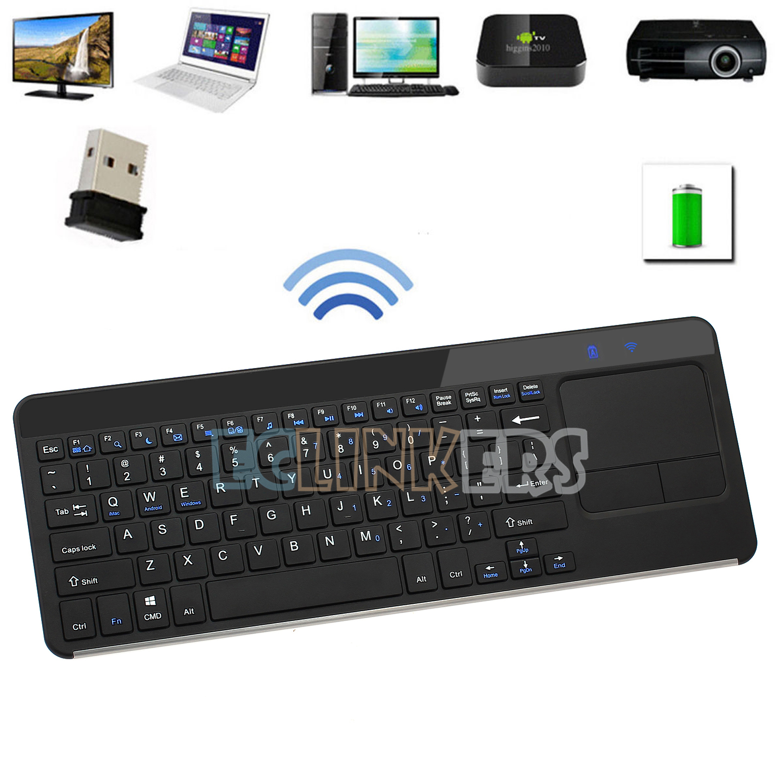 2 4g wireless qwerty mini keyboard with touchpad for android ios windows tv box ebay. Black Bedroom Furniture Sets. Home Design Ideas