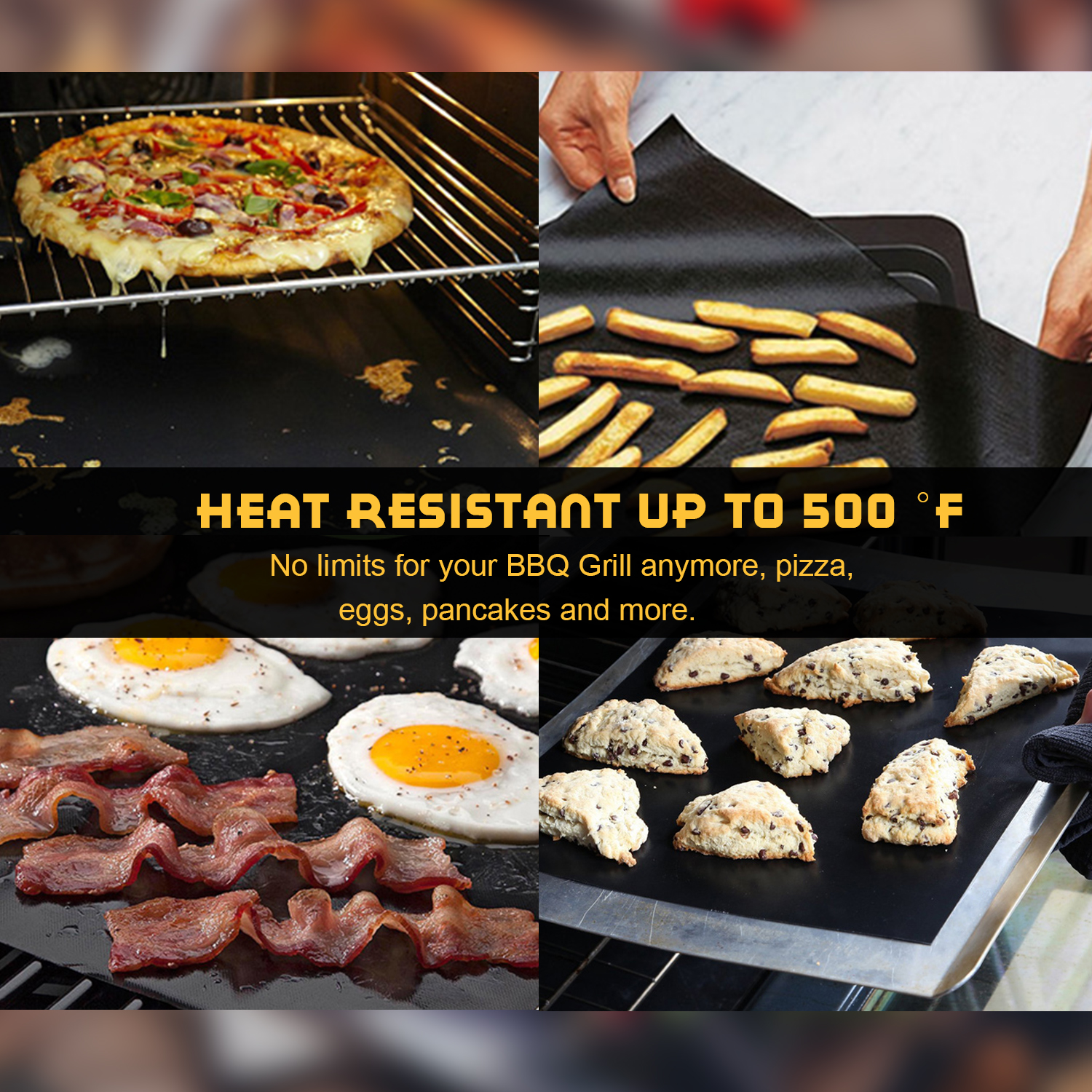 BBQ Grill Mat Non Stick Pad For Gas Easy Bake Cook Grate