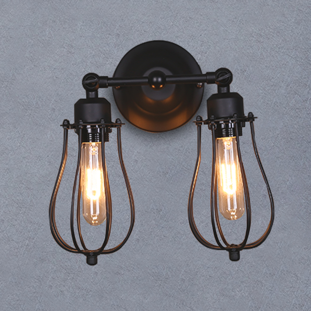 Vintage 2Lamps Industrial Bronze Retro Wire Cage Wall Sconce Wall ...