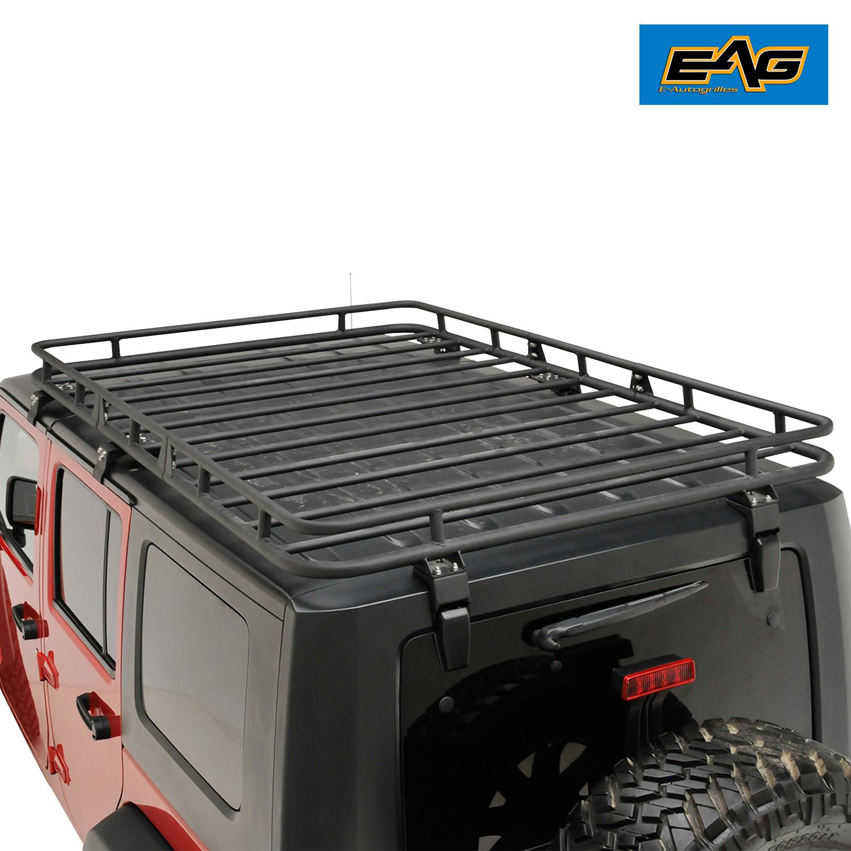 Jeep Wrangler Luggage Rack: EAG Black Steel Roof Rack Cargo Basket For 07-17 Jeep