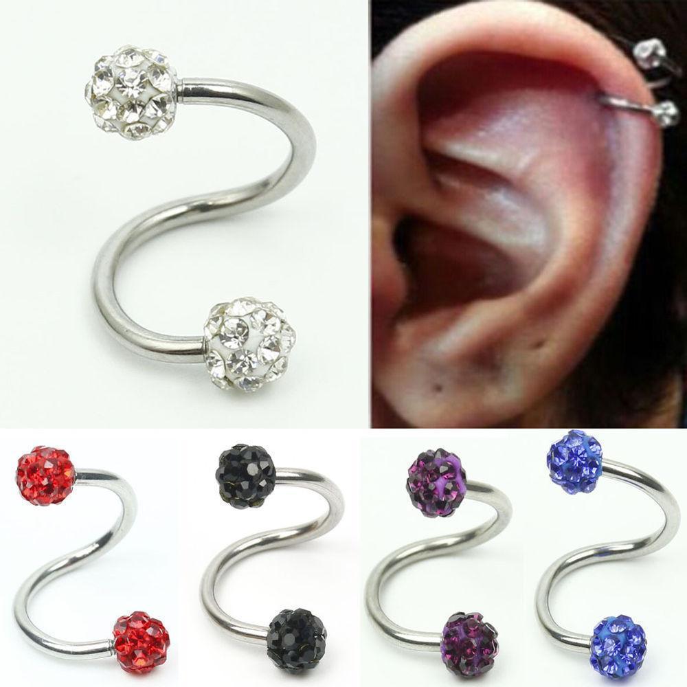 1x 16g spirale piercing ear cartilage strass h lix studs boucle d 39 oreille acier ebay. Black Bedroom Furniture Sets. Home Design Ideas