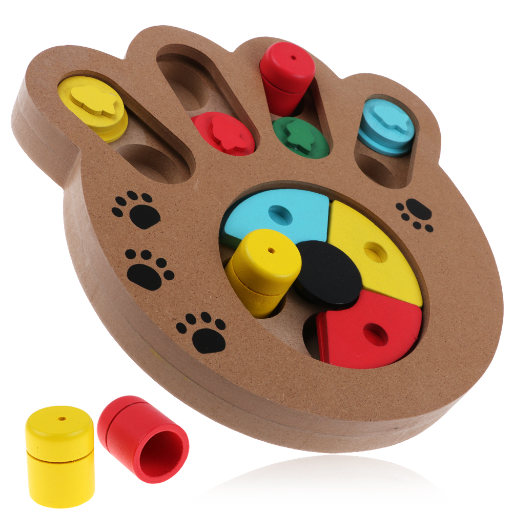 Toys For Trainers : Pet dog cat wooden iq training toy interactive game food