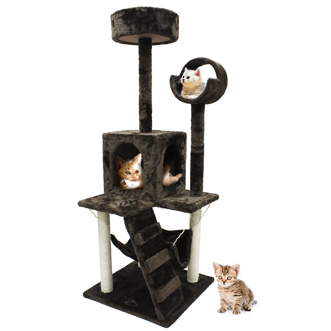52'' Cat Tree Scratching Tower Post Condo Pet House