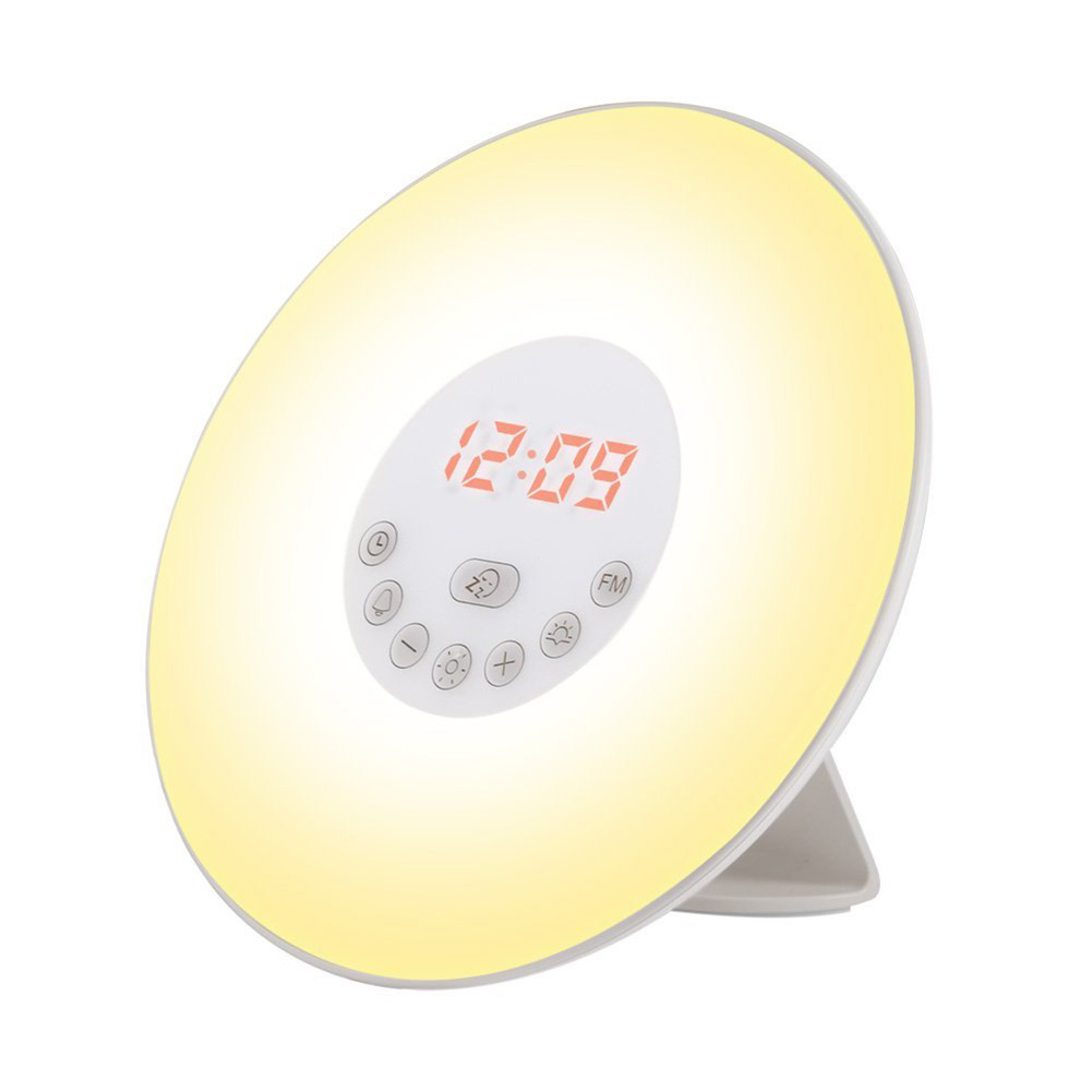 Wake Up Light Sunrise Alarm Clock Led Fm Radio Bedside