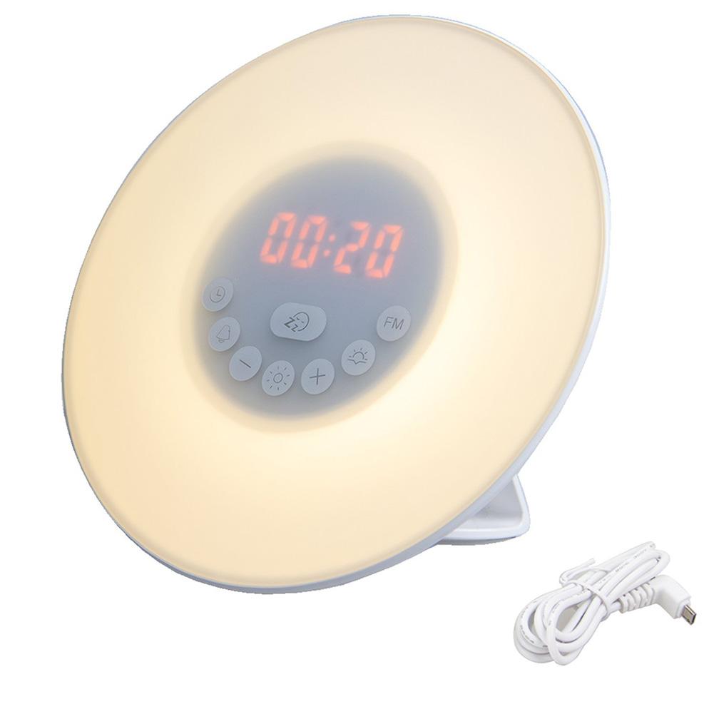 wake up light sunrise alarm clock led fm radio bedside sounds night colour lamp ebay. Black Bedroom Furniture Sets. Home Design Ideas