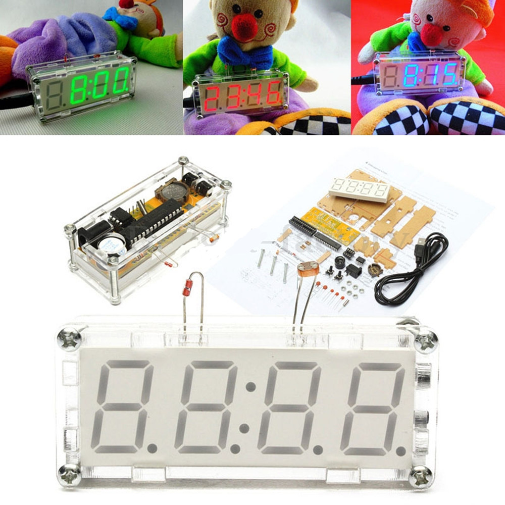 Details about DIY kit Red/Blue/Green LED Electronic Clock microcontroller  Time Thermometer