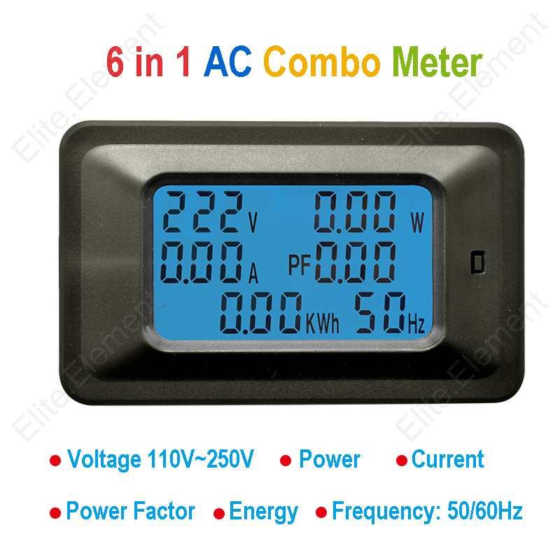 AC Multi Meter Voltmeter 220V Ammeter 100A Split Core Current Transformer 6in1