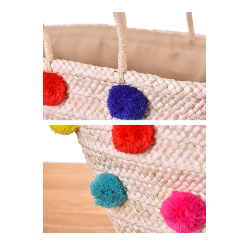 Wicker Basket With Pom Poms : Weave pom ball women beach bag straw rattan handbags