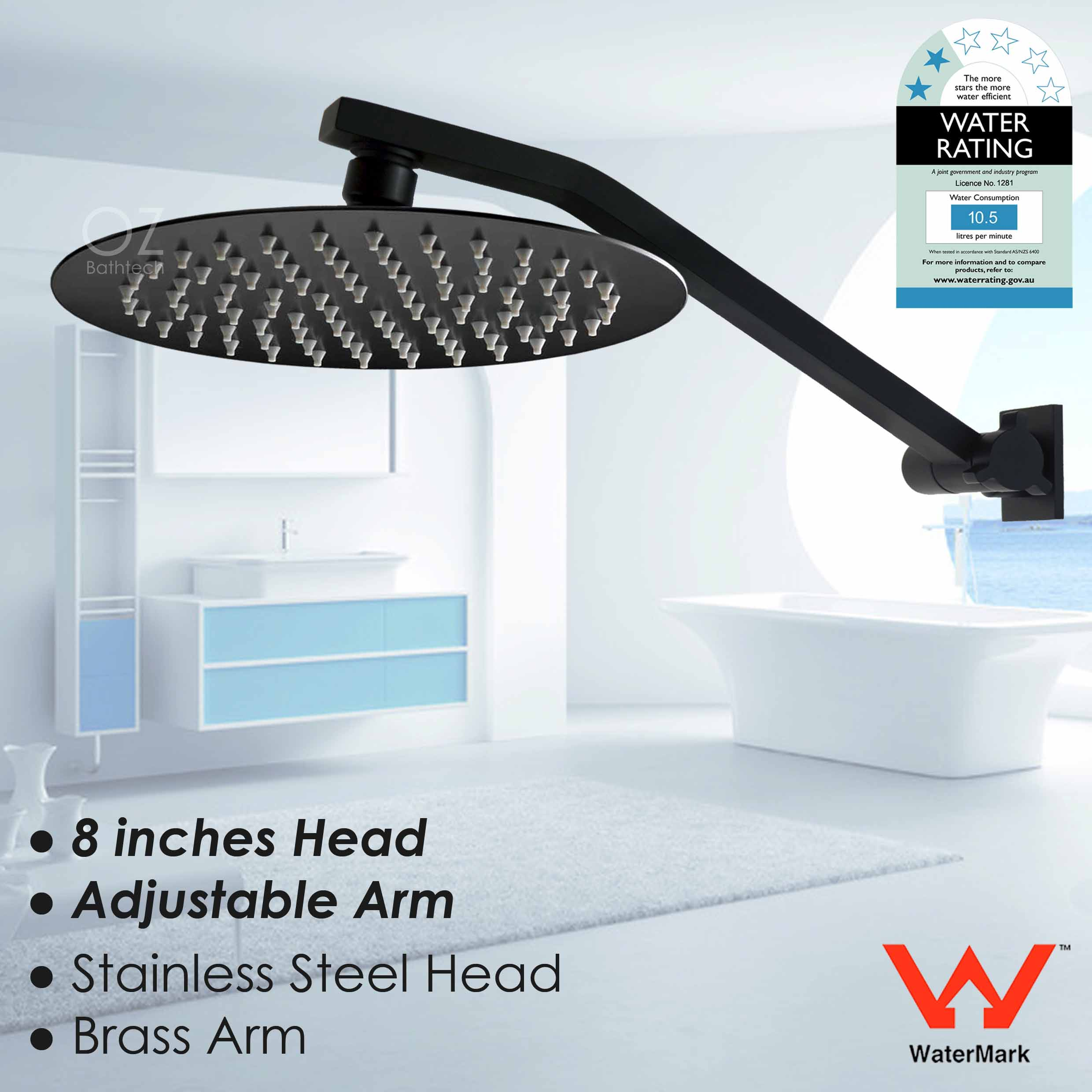 Details About Wels 8 Round Rain Shower Head Up Down Adjustable Swivel Wall Arm Set Matt Black