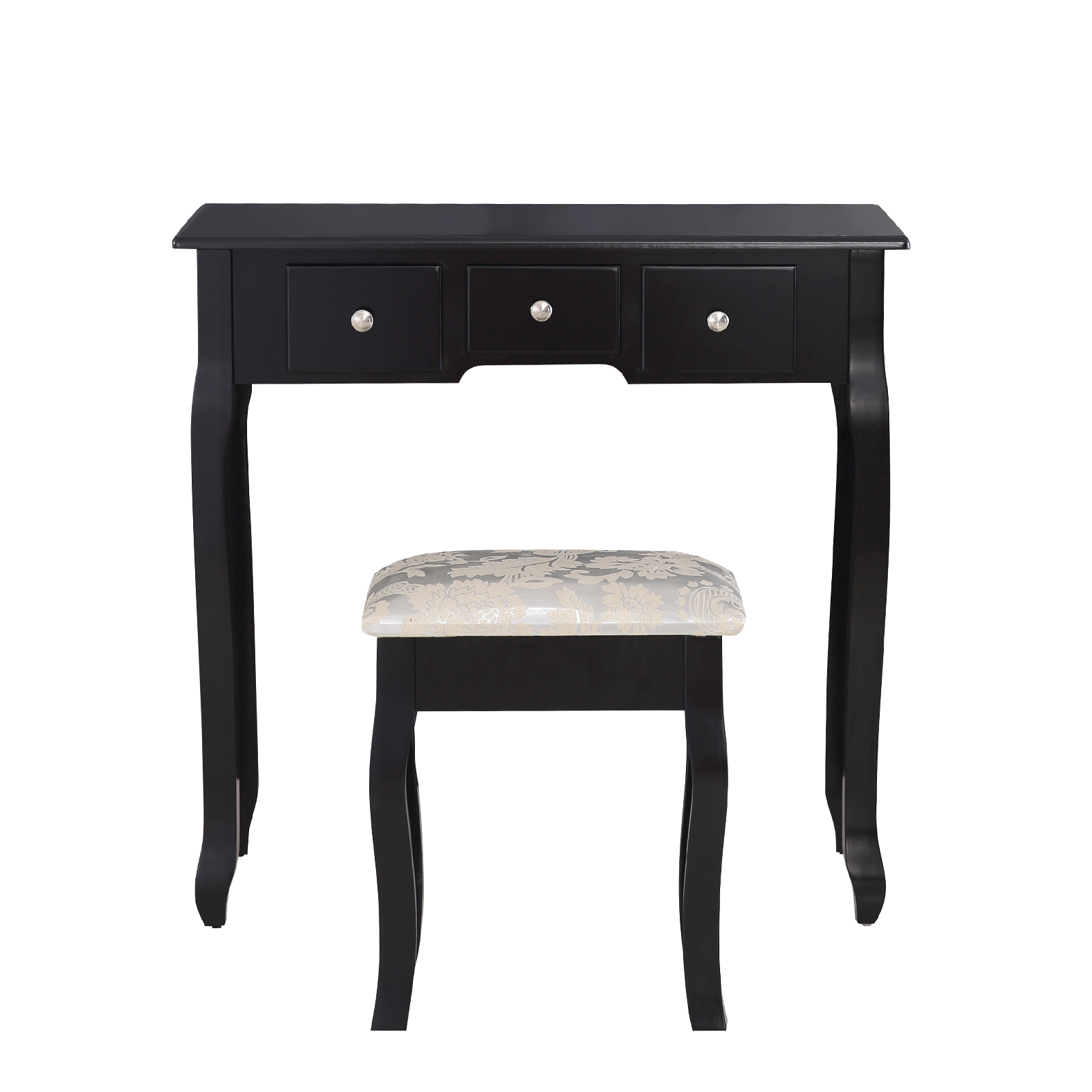 Black dressing table makeup desk with stool drawers