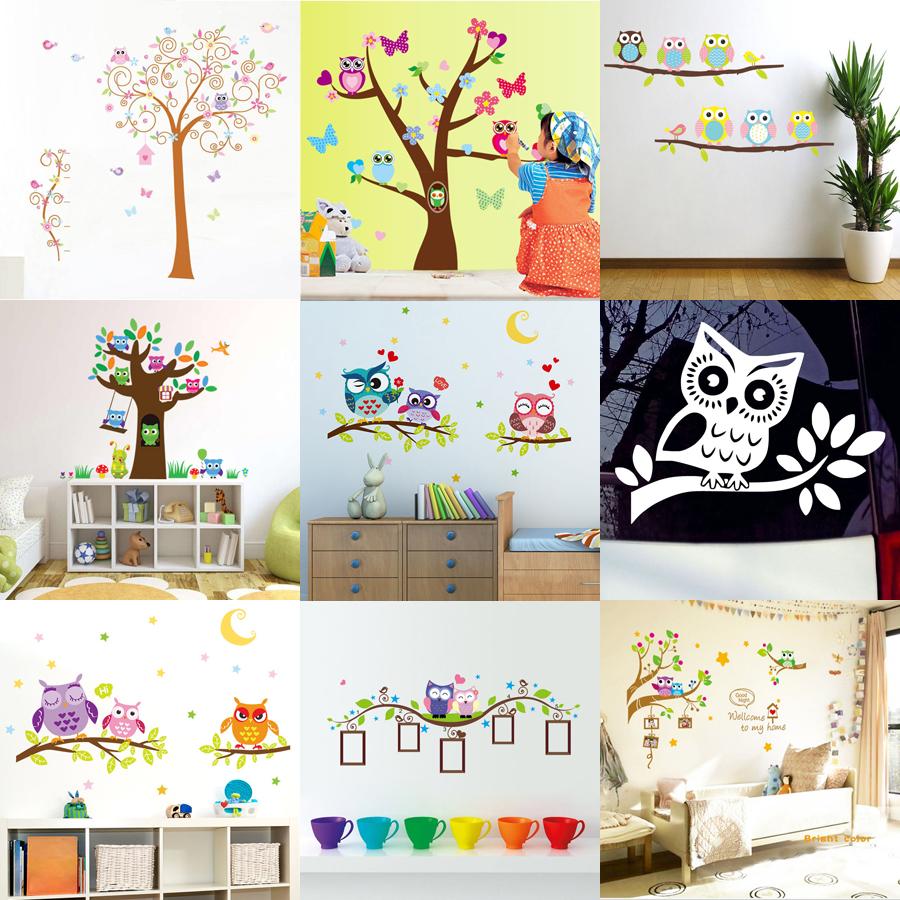 Cartoon owls on tree wall sticker baby room kids nursery for Diy tree mural nursery