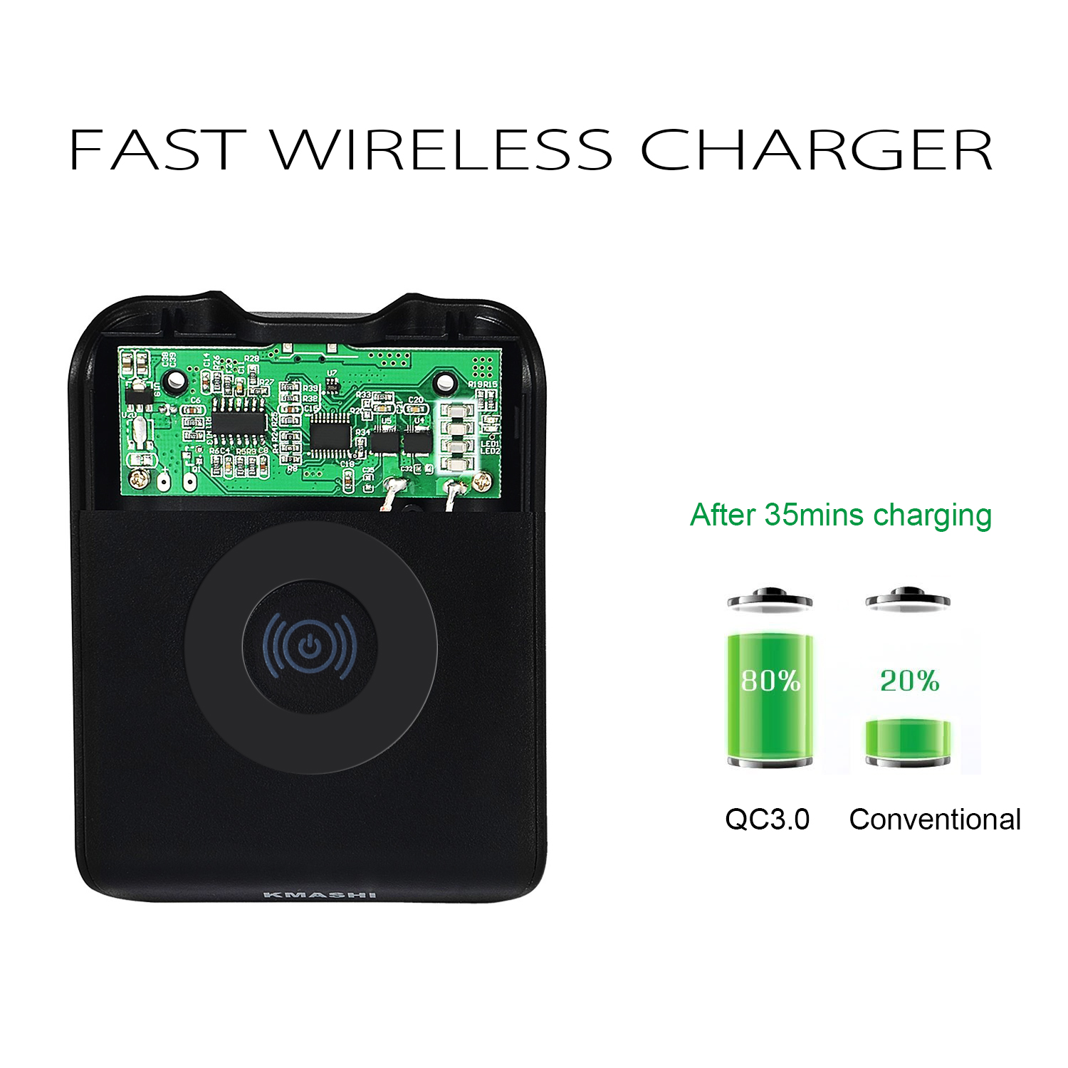 kmashi wireless qi qc3 0 fast charging charger pad receiver for iphone samsung ebay. Black Bedroom Furniture Sets. Home Design Ideas
