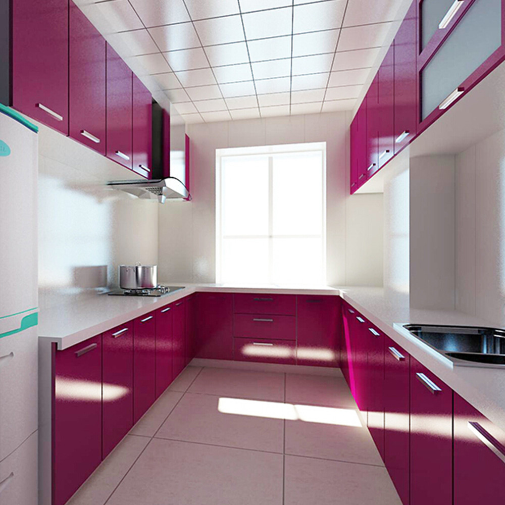 Covering Glass Kitchen Cabinets: Gloss Purple PVC Contact Paper Self Adhesive Kitchen Units