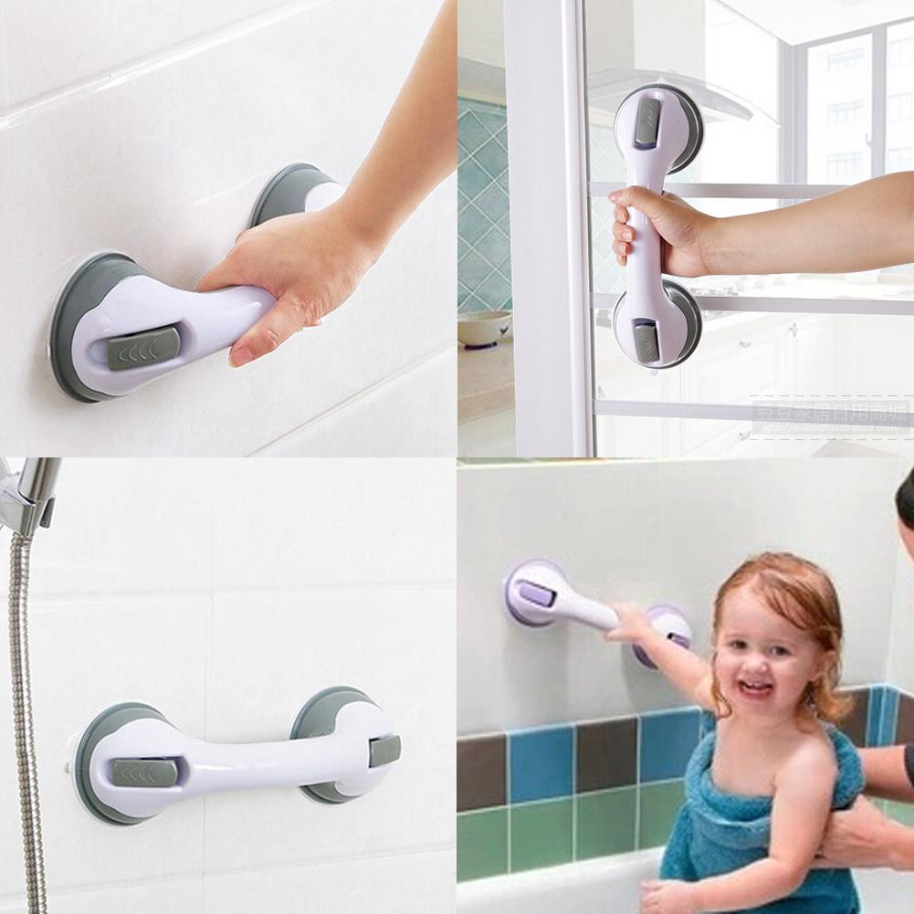 Shower Bar Grab Handles Suction Cup Shower Bath Safety Grip Rail ...
