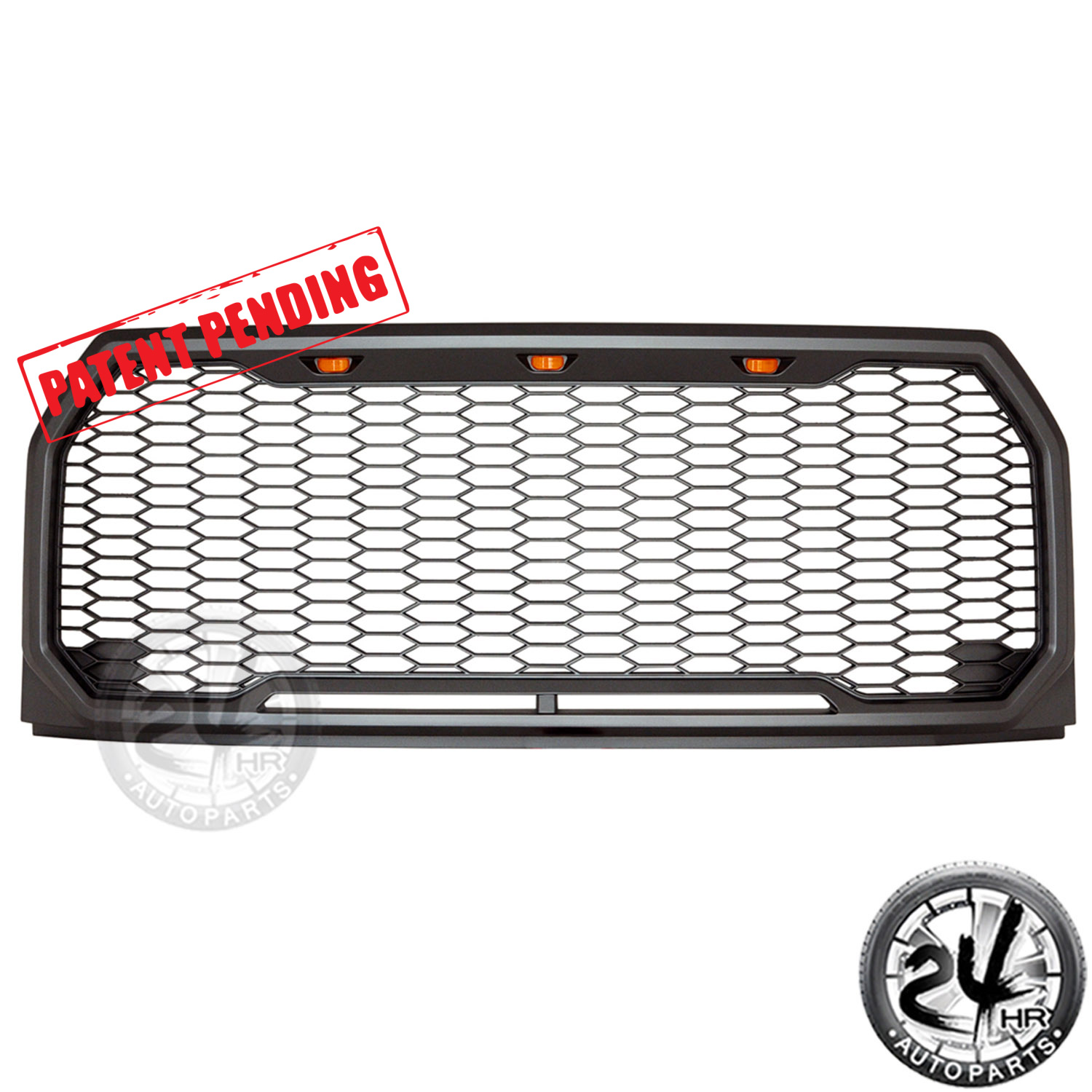 raptor conversion abs front mesh grille with amber led