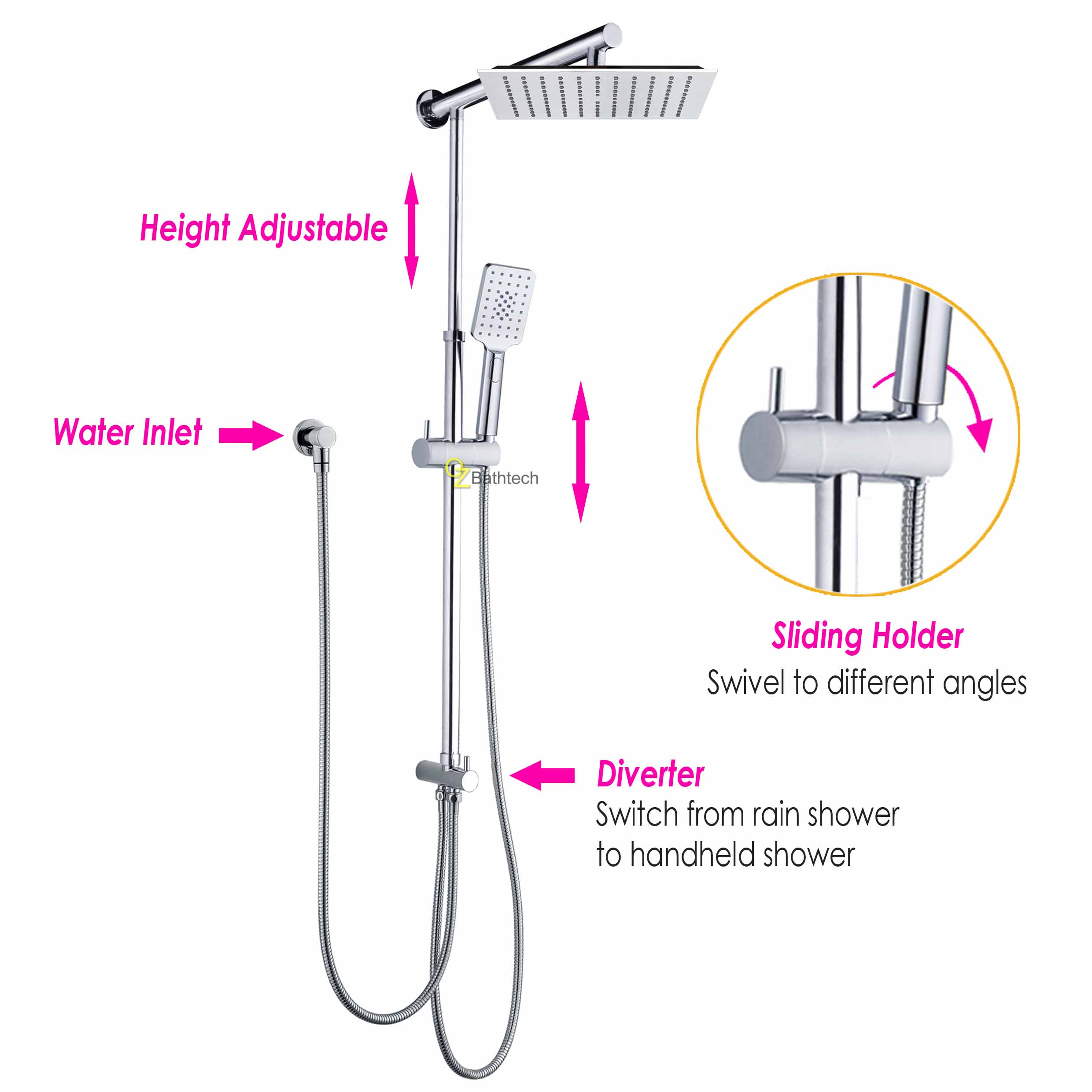 Details About Wels Square 10 Rain Shower Head Rose 3 Mode Handheld Sliding Rail Wall Arm Set