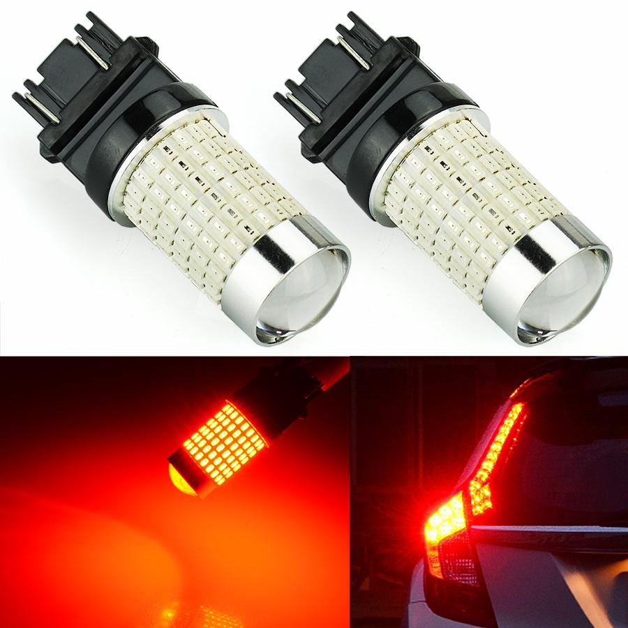 Bright Led Bulb: 2x 2G 144-SMD 3157 3156 Red Super Bright LED Bulbs Brake
