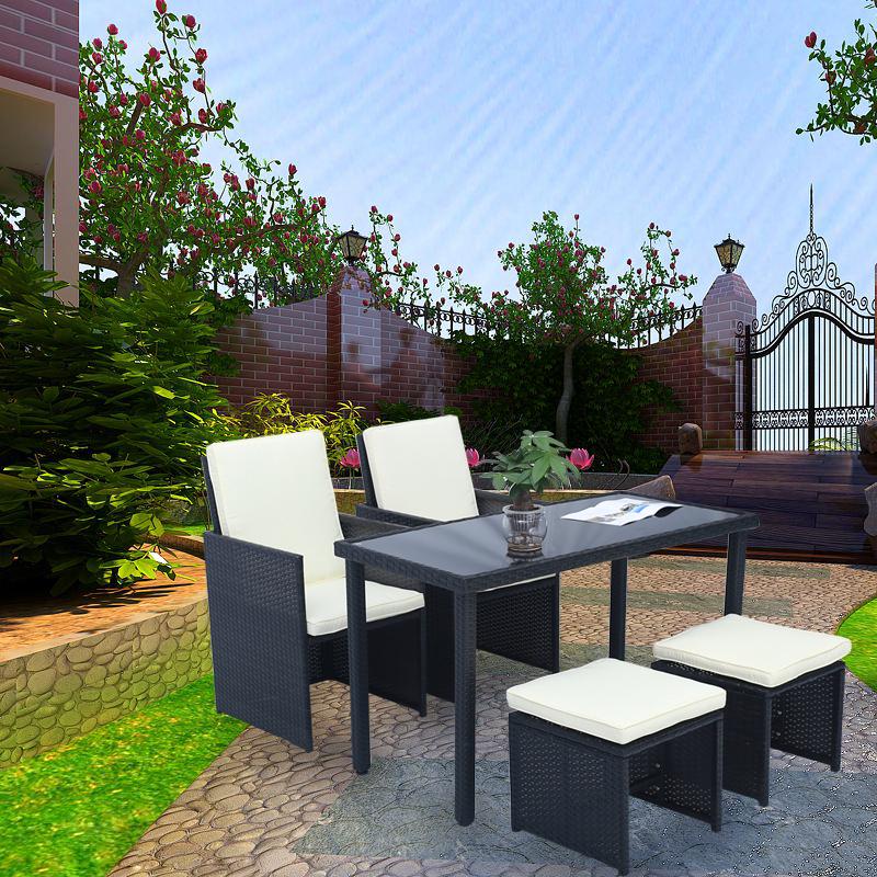 rattan barset sitzgarnitur tisch mit 4 st hlen gartenm bel sitzgruppe gartenbar ebay. Black Bedroom Furniture Sets. Home Design Ideas